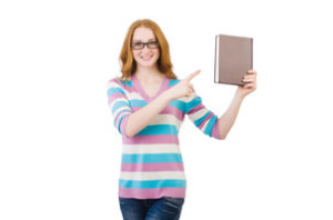 woman holding a book on page about editiing services