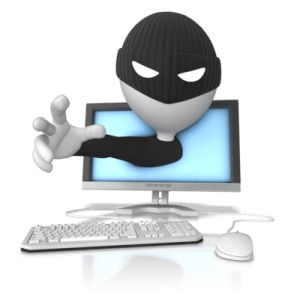 thief coming through monitor