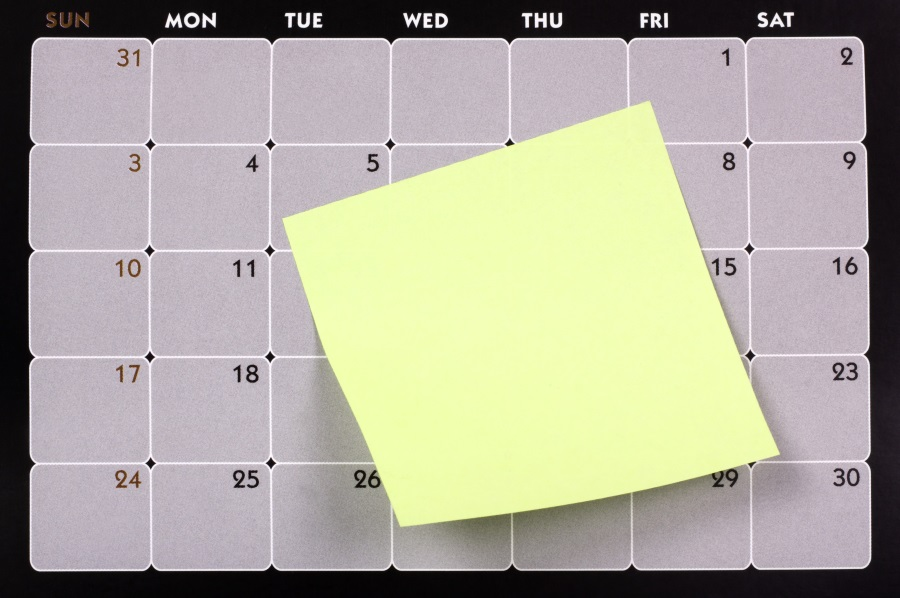 calendar with post it