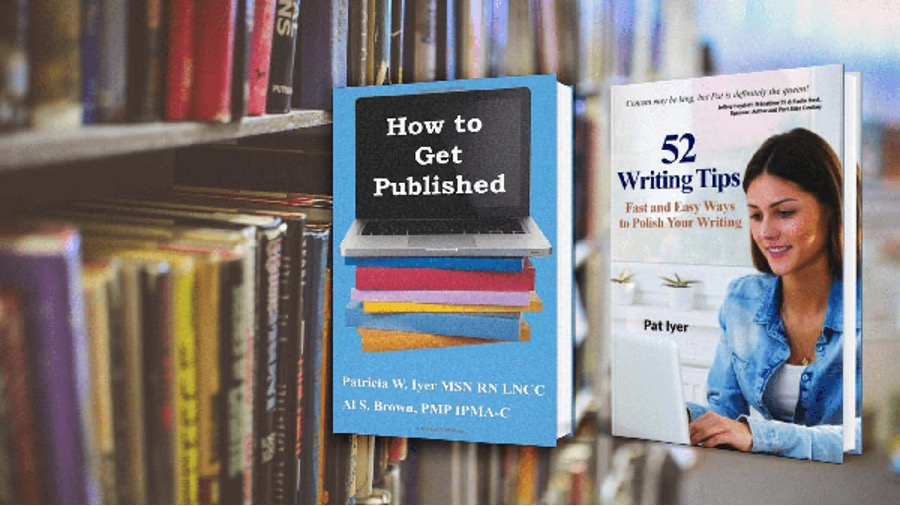 Library with How to Get Published and 52 Writing Tips brought to the forefront